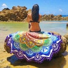 Mujeres calientes elegante borla indio mandala tapiz lotus impreso bohemio beach towel yoga mat protector solar ronda bikini cover-up manta