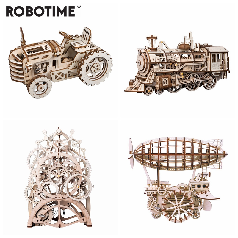 Robotime 4 piecs DIY Gear Drive Wooden Mechanical Model Building Kits Assembly Toy Gift for Children