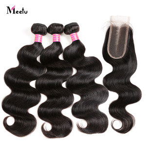 Malaysian Body Wave Hair Bundles With Closure 2/3 Bundles And Closure Deals Human Hair Extensions With Closure Meetu Non Remy