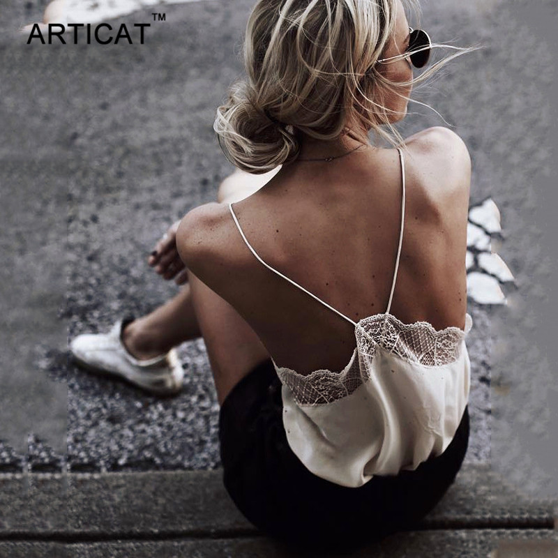 Articat Sexy V-Neck Lace Patchwork Crop Top Women Camisole Summer Spaghetti Strap Backless Tank Tops Female Beach Club Cropped