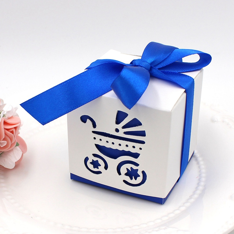 10 Pcs/ Lot Lovely Square Laser Cut Baby Carriage Cookie