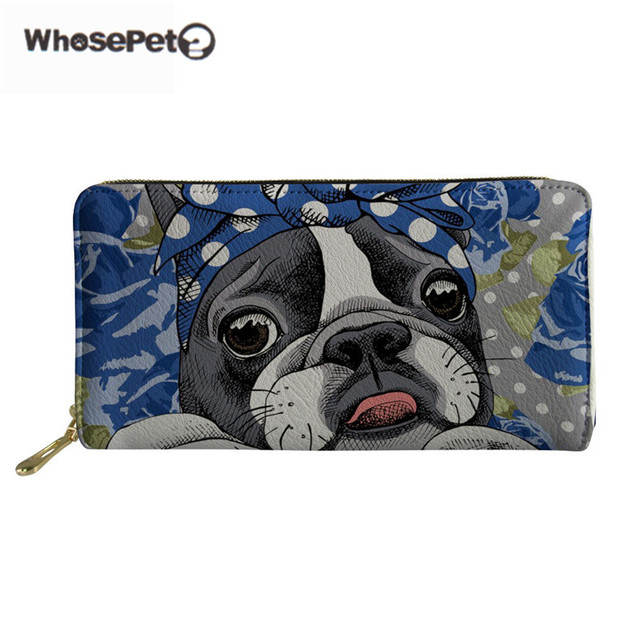 2c78a71a1d5f WHOSEPET Girls Cute Purse Boston Terrier Leather Womens Wallets And Purses  Clutch Money Bag For Female Travel Portefeuille Femme-in Wallets from ...