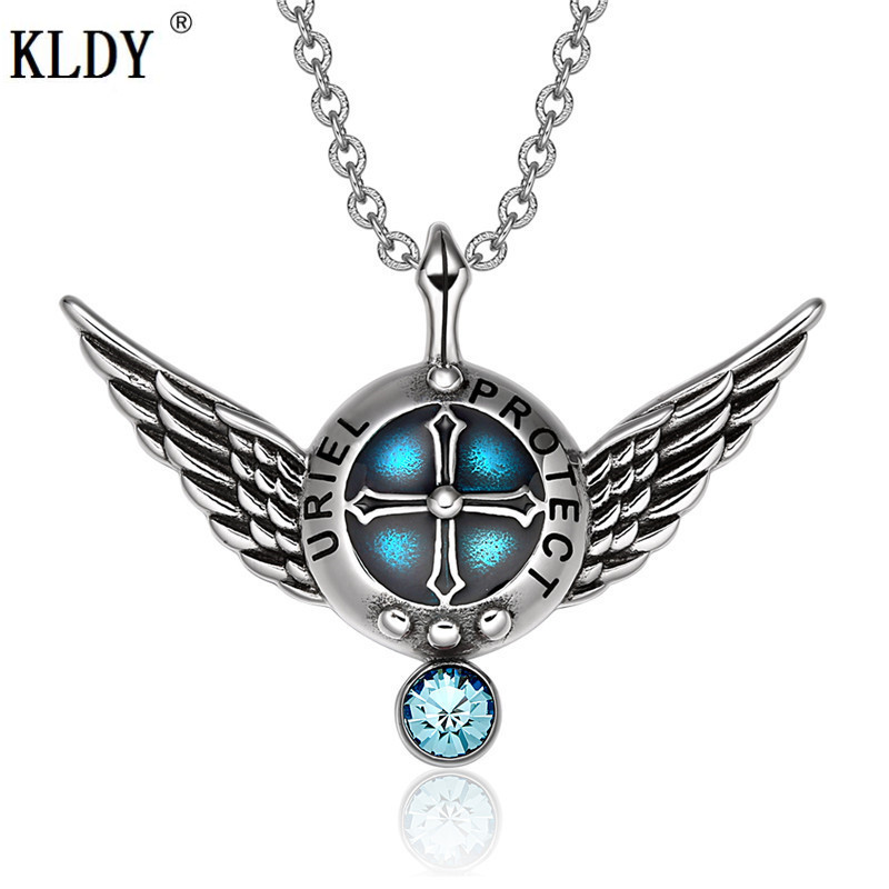 KLDY Angel Wings Sky Blue Crystal Pendant Stainless Men Necklace Punk Rock charm Statement Jewelry Best Amulet for lover friends