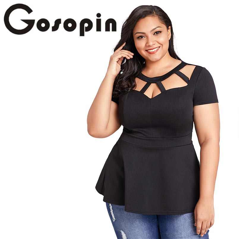 variety of designs and colors save up to 80% catch Gosopin Black Summer T-Shirt Women Plus Size Short Sleeve Club Party Shirts  Sexy O Neck Blusa Tops Caged Top Hollow Out LC250752