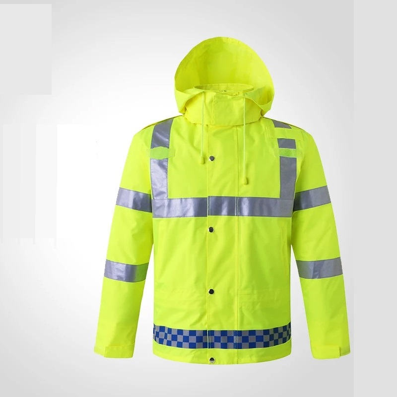 Printable Words Thickened Cold-proof Thermal Waterproof Warning Reflective Overalls Removable Cotton/Velvet Liner Raincoat