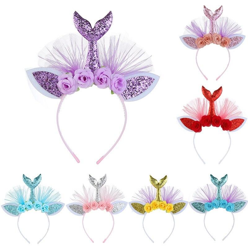Mermaid Handmade Flowers Children's Headband Little Girl Tiara Hair Accessories Birthday Holiday Gifts Halloween Party Jewelry