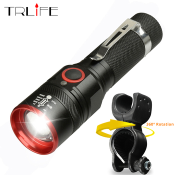 Bike Light Ultra-Bright 8000 Lumens Zoom T6 Bicycle Front LED Flashlight Lamp USB Rechargeable Cycling Light By 18650 Battery original nitecore br35 bike light 1800 lumens cree xm l2 u2 led rechargeable bike bicycle front light built in 6800mah battery
