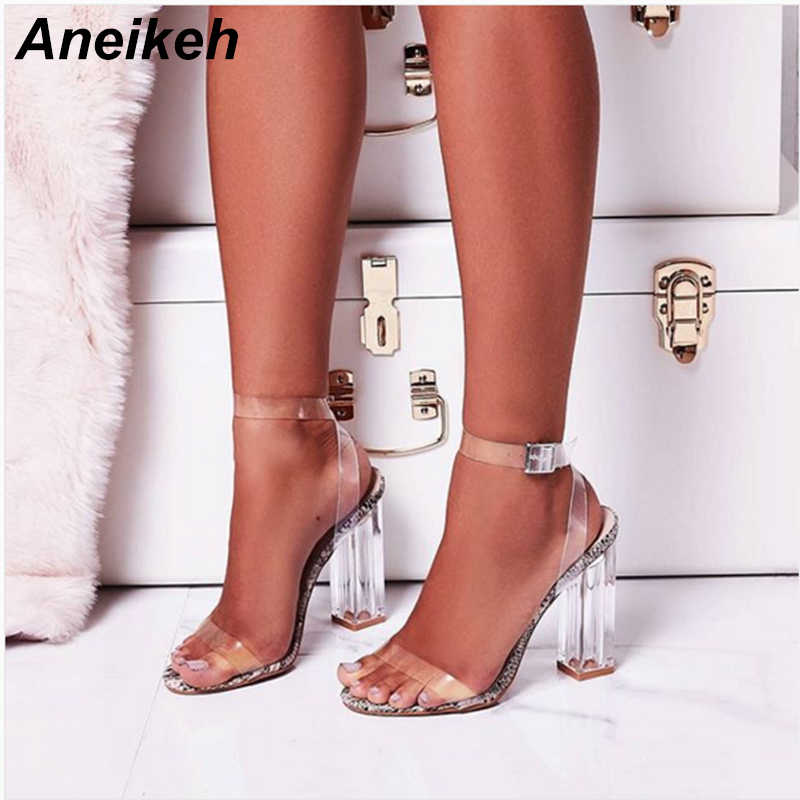 Aneikeh 2019 Classic PVC Women Sandals Buckle Strap Clear Glass Heel Serpentine Transparent Square High Heels Dress Party 35-42