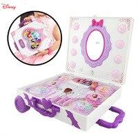 Disney pretend play Beauty Fashion Toys Children's Cosmetics Princess Shiny Light Portable Travel Case Toy for children