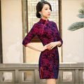 Cheongsam Gold Velour  Fashion Embroidery Qipao Half-sleeve Vintage Chinese Dress Women Clothing