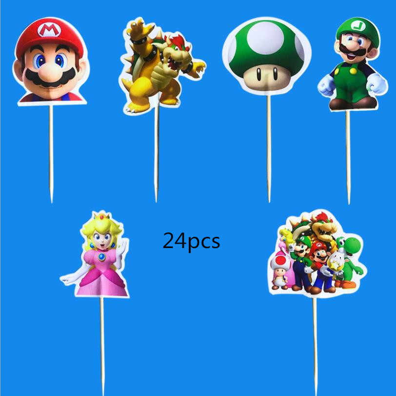Happy Birthday Party Super Mario Theme Kids Boys Favors Cupcake Toppers With Sticks Decoration Baby Shower Cake Topper 24PCS
