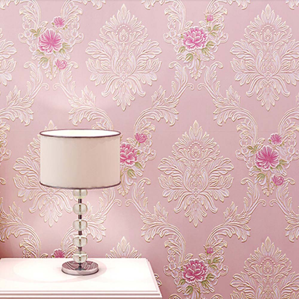 Damask wall paper 3d non woven wallpapers for bedroom for Papel de empapelar