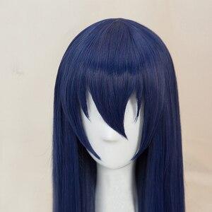 Image 4 - Anime Liefde Live! LoveLive! Sonoda Umi 80 cm Lange Gemengde Blauw Haar Hittebestendige Cosplay Kostuum Pruik + Gratis Pruik Cap
