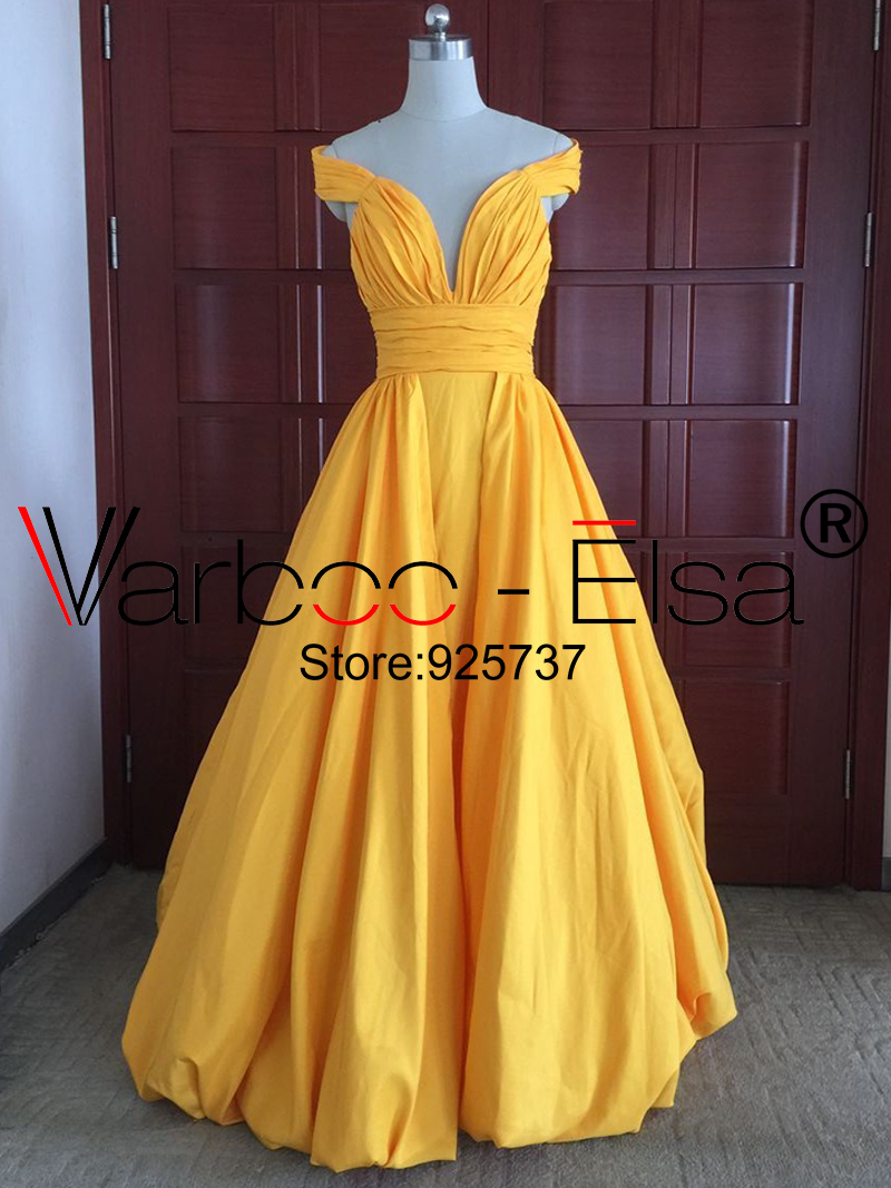 d5478552652b VARBOO ELSA long yellow prom dress off the shoulder sexy v neck backless  prom dresses 2018 taffeta sheath ruched prom dresses-in Prom Dresses from  Weddings ...