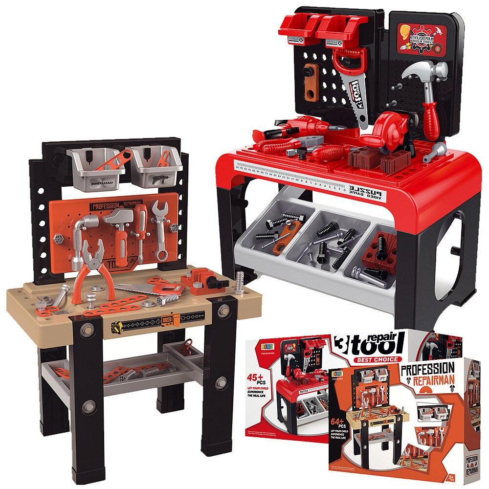 Kids Tool Toys Set Large Repair Tool Table Plastic Pretend Play Child Tool Kit Puzzle Toys