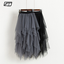 d15a68b3ce Fitaylor Tulle Skirts Women High Waist Mesh Skirt Hem Asymmetrical Pleated  Midi Skirt Female Slim Black