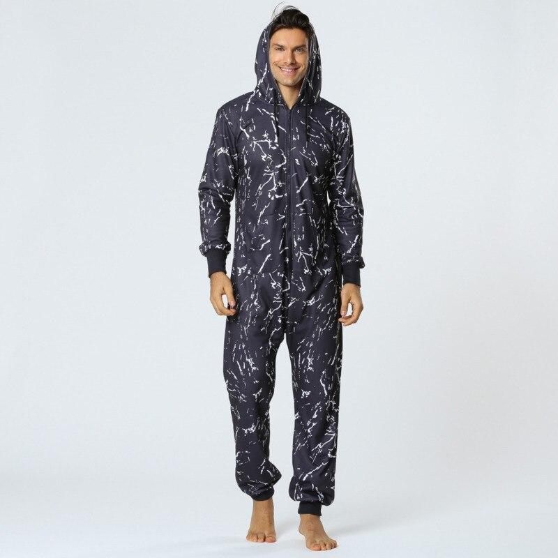Autumn Winter Onesie Men Thicken Zipper Men Underwear Conjoined Pajamas Unisex One-piece Hoodie Home Clothes X9123