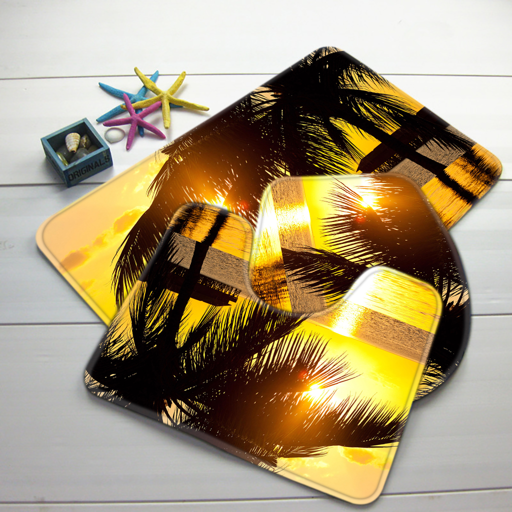 3pcs bathroom mat set beach bora sunset palm tree bath mat non