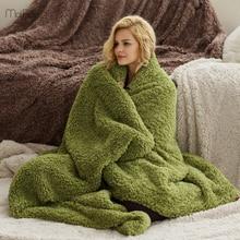 150x210 ซม.แกะกำมะหยี่ผ้าห่มสำหรับเตียงยาว Plush Solid โยนผ้าห่มอุ่น Tapestry Sleeping Home ใช้ผ้าห่มผู้ใหญ่