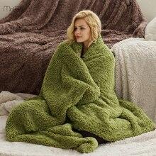150x210cm uniwersalny Lamb Velvet narzuty na łóżka długi pluszowy jednokolorowy rzut koc ciepły gobelin spania użytku domowego koce dorosłych
