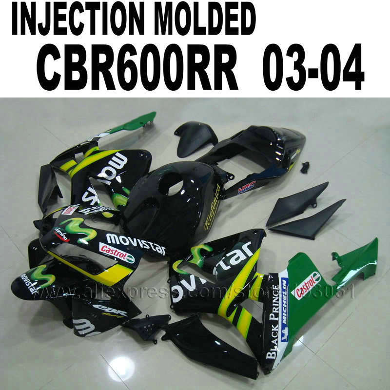motorcycle Injection fairing kits for Honda  cbr600 2003 2004 CBR 600 RR 03 04 CBR600RR black movistar fairings kit hot sales for honda cbr600rr 2003 2004 cbr 600rr 03 04 f5 cbr 600 rr blue black motorcycle cowl fairing kit injection molding