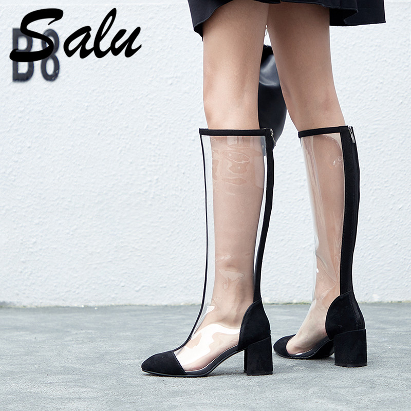 Salu 2019 New Women Knee High Boots Pvc Transparent Boots Round Toe High Heels Boots Zip Party Shoes Woman Summer BootsSalu 2019 New Women Knee High Boots Pvc Transparent Boots Round Toe High Heels Boots Zip Party Shoes Woman Summer Boots