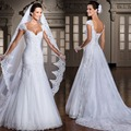 New Robe de Mariage 2016 Mermaid Lace White Wedding Dresses V-Neck Cap Sleeve Appliques Plus size Bride Dresses Vestido de novia