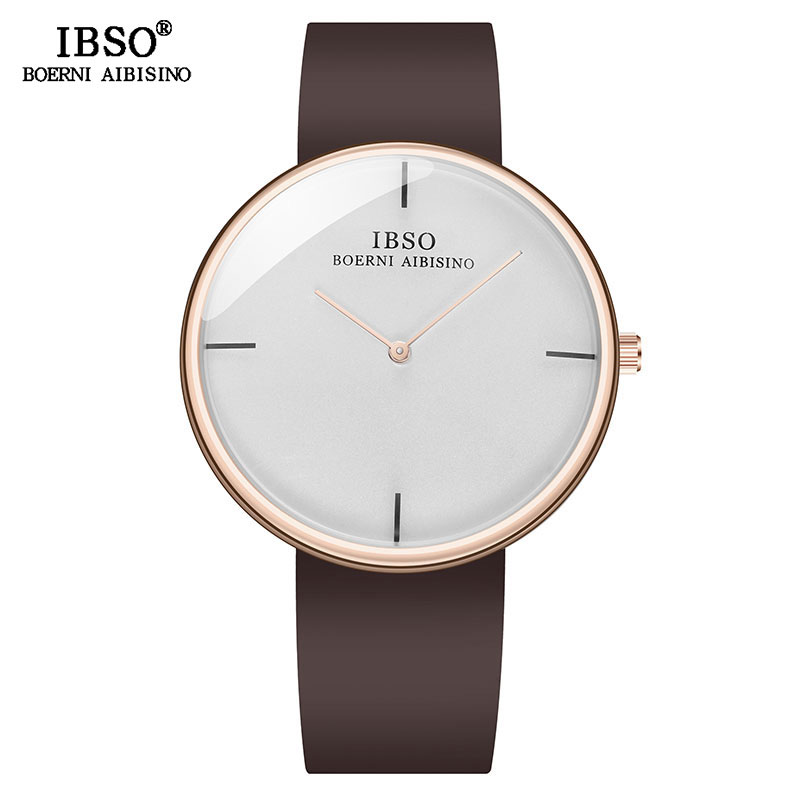 IBSO 11mm Ultra-thin Men's Quartz Watch Business Silicone Band Quartz Clock Watch For Male Wrist Watches Birthday Gift
