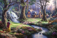 Free shipping Thomas Kinkade reproduction Snow White fairy tale painting beautiful landscape giclee prints canvas