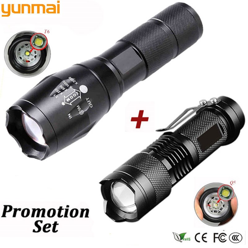 Promotion portable LED tactical flashlight Q5 2000LM + 1800LM LED flashlight T6 Zoomable lante LED Torch Ultra Bright Light