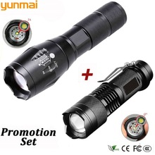 Promotion portable LED tactical flashlight Q5 2000LM + 1800LM LED flashlight T6 Zoomable lante LED Torch Ultra Bright Light promotion set tactical led flashlight xml t6 tactical flashlight q5 mini torch lanterna zoomable waterproof flashlight bike