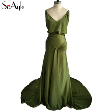 SoAyle Sheath Prom Dresses 2018 Olive Green Open Back Silk Chiffon Evening  Dresses Spaghetti Straps Star 9eae6dbe3509