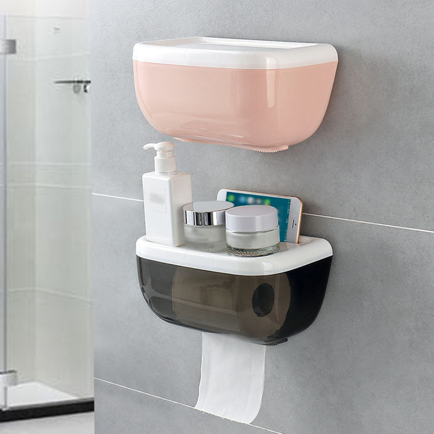 Wall Mounted Tissue Box Toilet Paper Phone Holder Shelf ... on Wall Mounted Tissue Box Holder id=37708