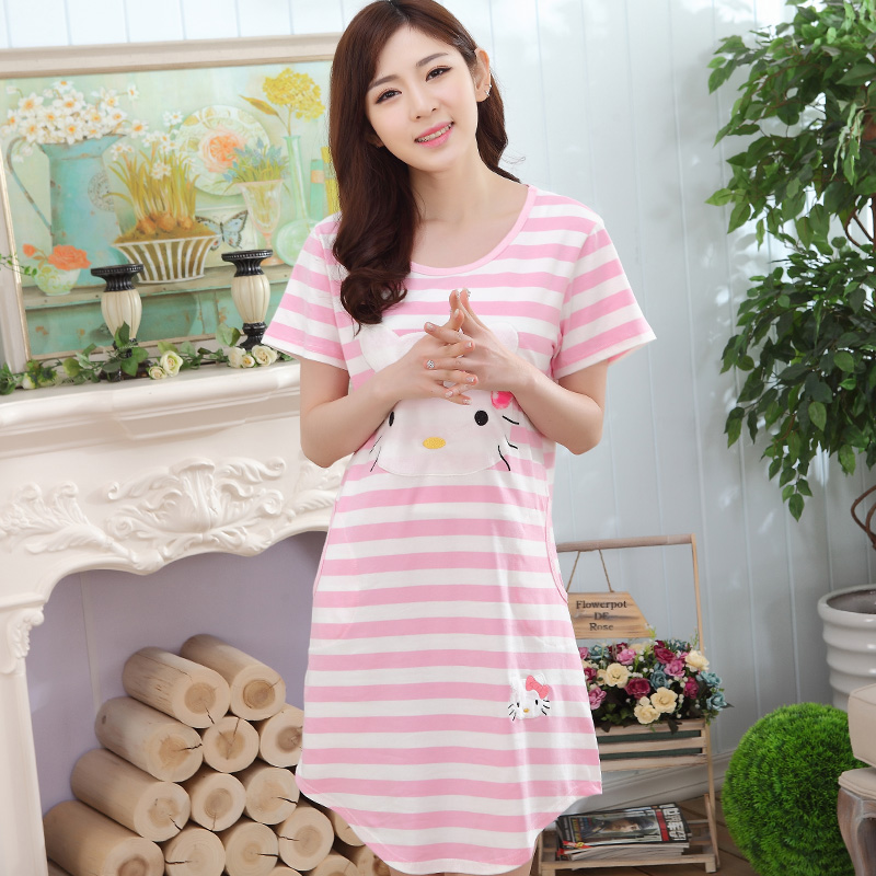 Spring Summer Striped Dresses Women's   Nightgowns  &  Sleepshirts   Cartoon Cat Nightdress Girl Sleepwear Pyjamas Women Lounge Homewear
