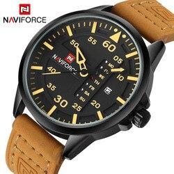 Relojes militares del Ejército de los hombres de la marca de lujo de la marca NAVIFORCE reloj de cuarzo de la fecha del hombre correa de cuero reloj de pulsera reloj deportivo Masculino