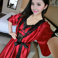 New Arrival women's Robe + Nightgown Two Pieces Pajamas Sets Free Shipping 2016 Lace Silk Half Sleeve Summer Sexy Nightwear Hot
