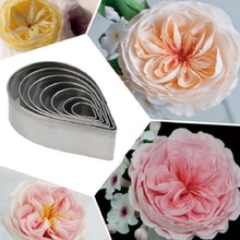 7pcs/set Stainless Steel Rose Petal Cookie Cutter Mold Pastry Mould Sugarcraft Cake Decorating Tool