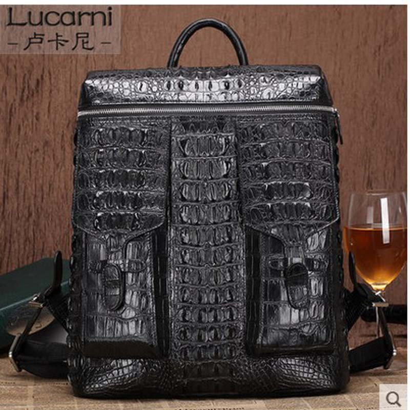LUKANI Crocodile skin double shoulder bag men's business double shoulder bag computer bag leather large capacity man pack travel double dealing intermediate business english course teachers resource pack double dealing