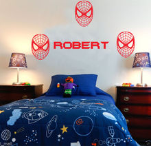 Customized  Name Spiderman mask kids wall sticker personalized vinyl decal for boys KW-137
