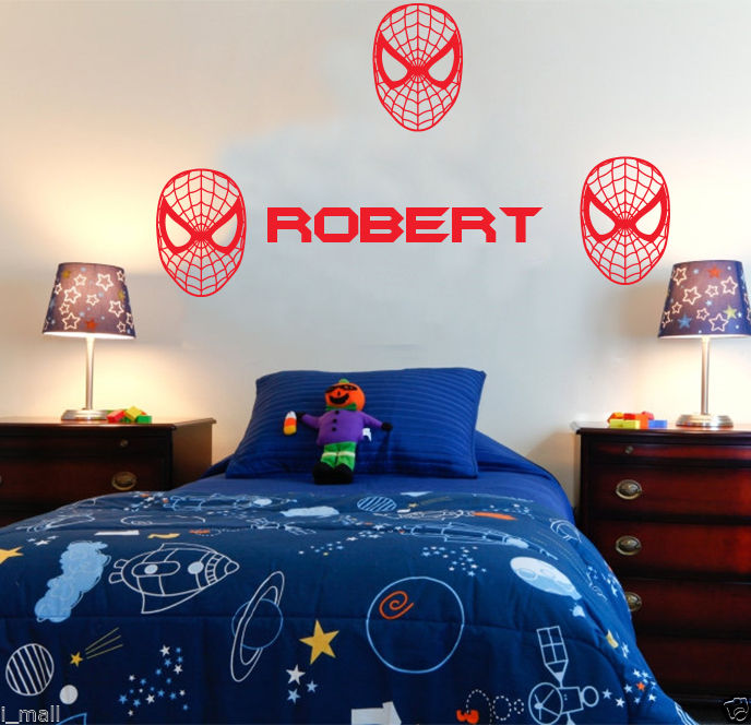 Customized Name <font><b>Spiderman</b></font> <font><b>mask</b></font> kids wall sticker personalized <font><b>vinyl</b></font> wall decal for boys KW-137