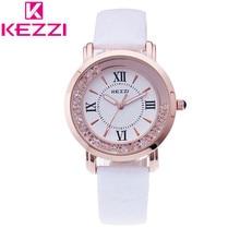 K-747 KEZZI Marca de Moda de Lujo Mujeres Reloj Casual de Las Señoras de Cuero Números Romanos Reloj de Cuarzo Relogio Feminino Regalo 1021