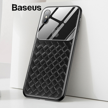 Baseus Grid Pattern Case For iPhone Xs Max Luxury Silicone + Tempered Glass Case For iPhone Xs Xs Max XR 2018 Phone Accessories