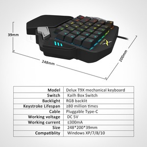 Image 5 - Delux T9X Single handed Mechanical Gaming keyboards fully programmable USB wired keypad with RGB backlight for PUBG LOL E Sports