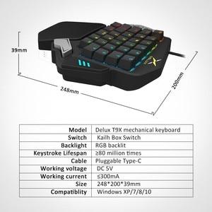 Image 5 - Delux T9X Single handed Mechanische Gaming tastaturen voll programmierbare USB verdrahtete tastatur mit RGB hintergrundbeleuchtung für PUBG LOL E sport