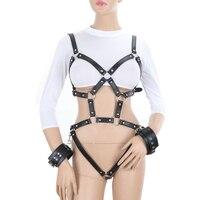 Women Bondage Leather Harness belt of Women Black Sexy Tops Cage Bra BDSM Bondage Harness Goth Pentagram Full Dance underwear