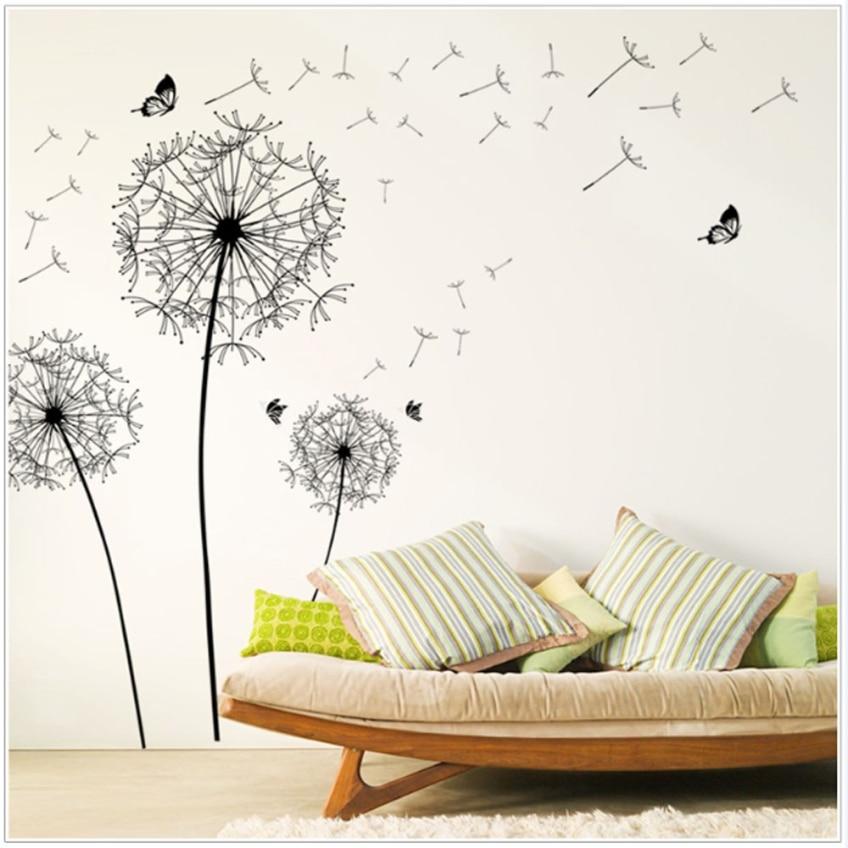 DIY New Design Large Black Dandelion Wall Sticker As