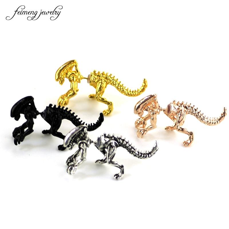 Женские серьги с эмалью инопланетного динозавра, четыре цвета, модные серьги с животными, Прямая поставка