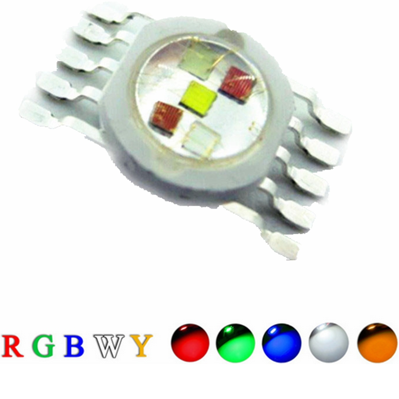 10 Pcs High Power LED Chip 15W RGBWY 45mil Red Green Blue White Yellow COB Supper Bright 10 pin Light chips For Stage Lights