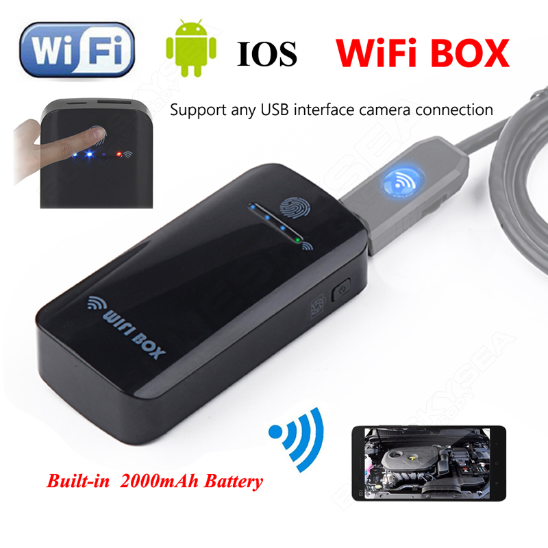Blueskysea Wireless Wifi Box For USB Endoscope Enspection Camera Built-in 2000mAh battery For Above Android 4.4 And IOS 8.0 en66 6led 5 5mm endoscope ip67 waterproof inspection camera usb for windows8 7 xp vista 2000 wifi box for ios android
