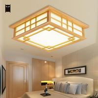 LED Wood Square Tatami Ceiling Light Fixture Chinese Japanese Grid Plafon Lamp Avize Luminaria for Kitchen Bed Dining Table Room